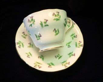 Aynsley Bone China Thistle Decor Cup and Saucer