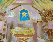 "Handpainted Silk Nativity Scene ""First Christmas""  Wall Hanging by The Silk Maid"
