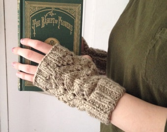 Khaki Fingerless Gloves Organic Cotton
