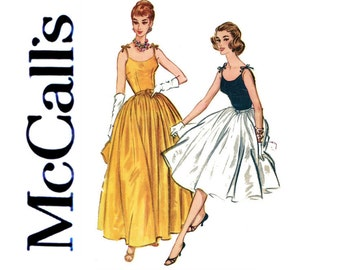 1950s Evening Dress Pattern McCall's 5200 Bust 34 UNCUT Full Skirt Formal Gown Shoulder Tie Cami Wedding Prom Womens Vintage Sewing Patterns