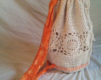 Crochet Cotten Backpack/Purse