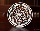 Indian Carved Wood Block Stamp - Round Contemporary Design