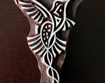 Hand Carved Indian Wood Textile Stamp Block- Stylized Hummingbird
