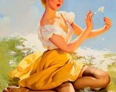 """Handprinted Cotton Art Reprodn Applique Vintage Sexy Pin-up Girl Gil Elvgren """"Daisies Are Telling"""" (Love Me, Love Me Not) 1955"""