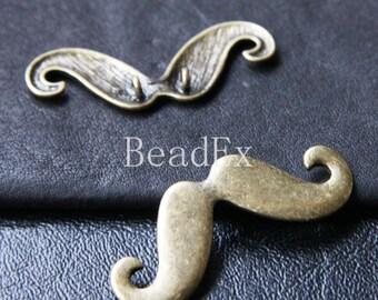 4 PCs / Moustache / Pendant / Antique Brass Tone / Base Metal / Charms (CB17//H225)