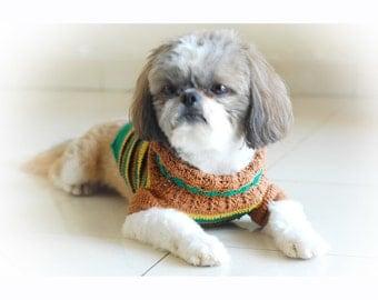 Crocheted Pet Clothing, Dachshund Clothes, Shih Tzu Clothes, Dog Clothes Medium, Cat Clothes, Myknitt DK813 - Free Shipping