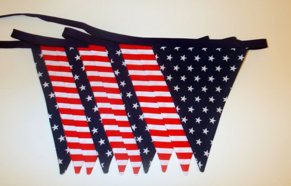 Stars and stripes bunting stars and stripes decor by chezlele Stars and stripes home decor