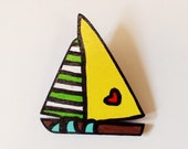 Retro YELLOW SAILBOAT Wood Hand Painted Brooch / Pin, Original Design by Vivian Estalella