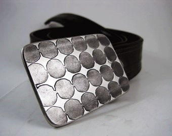 Circles Belt Buckle - Etched Stainless Steel - Handmade