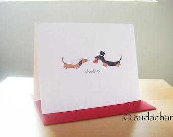 Dachshund Bride and Groom Engagement. Bridal Shower. Wedding Thank You Card (Single Card)