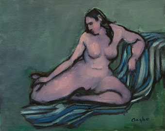 Nude on Striped Blanket - Original Oil Painting - Nude Female - Figure Study - Figurative - 8 x 10 inches - Nude Painting