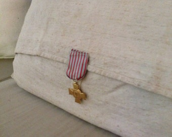 French Pillow Heavy Antique Linen with Military Medal Medallion
