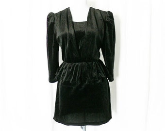 Vintage 80s Black Mini Dress Upcycled Peplum Ruffled Velvet S M