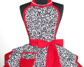 Romantic Black White and Red Heart Damask Apron