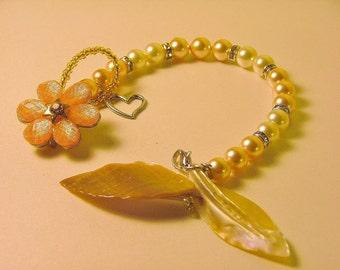Peaches and Cream Swarovski Crystal Pearl Bracelet