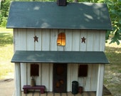 Primitive Amish Lighted Farmhouse w/ porch Folk Art worn white w/ dark green roof ~  Comes w/ light and cord ~ Birdhouse ~  Very unique!