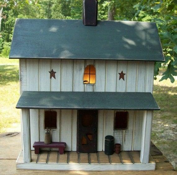 Primtive birdhouse primitive farmhouse amish farmhouse for Primitive cabin plans