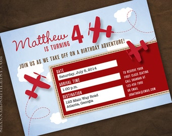 Plane Ticket Birthday Party Invitation