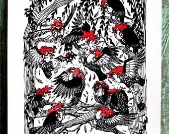 SALE! Harpy Brawl Screen Print