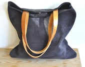 OFFER Leather tote bag grey leather tote bag everyday tote bag casual bag custom tote bag with brown leather straps