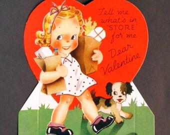 1950s Vintage Little girl shopper Valentine, unused