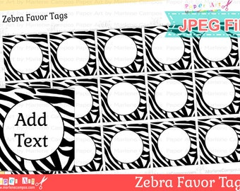 Zebra Favor Tags, Printable favor tags, Editable text, JPEG file, Animal Print Party - INSTANT DOWNLOAD
