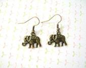 Antiqued Bronze Elephant Earrings, Antiqued Bronze Tibetan Elephant Pendant, Elephant Jewelry, Animal Earrings, Animal Jewlery