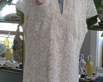 Romantic Victorian Ivory LACE TOP  - Up-cycled with Doilies and Ribbon Rose Brooch -  Size 18-20