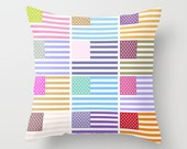 Throw Pillow Cover - USA Flags - Pastel Colors - 16x16, 18x18, 20x20 - Nursery Bedroom Living Room Original Design Home Décor by Adidit
