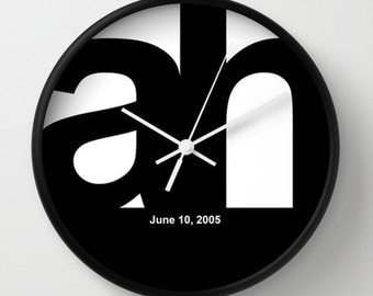 Wedding Wall Clock - Initials and Date Personalized Wall Clock - Black White - Original Design - Home decor by Adidit