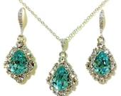 Something Blue Turquoise Bridal Jewelry Set, Drop Earrings, Teardrop Necklace, December Birthstone Swarovski Crystal Jewelry, BIJOUX