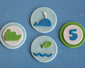Fondant Ocean Whale, Fish, Boat and Age Toppers for Birthday Cupcakes, Cookies or Cakes