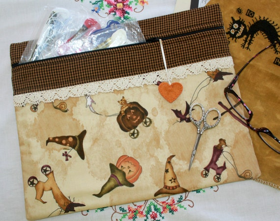 Primitive Homespun Halloween Cross Stitch, Sewing, Embroidery Project Bag