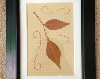 Orange Framed Leaf Art
