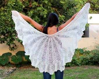 White shawl Knit shawl scarf,  Hand Knit Shawl Wedding shawl Wedding wrap shawl Knit shawl Wraps Shawl Ivory wraps shawls Bridesmaids shawl
