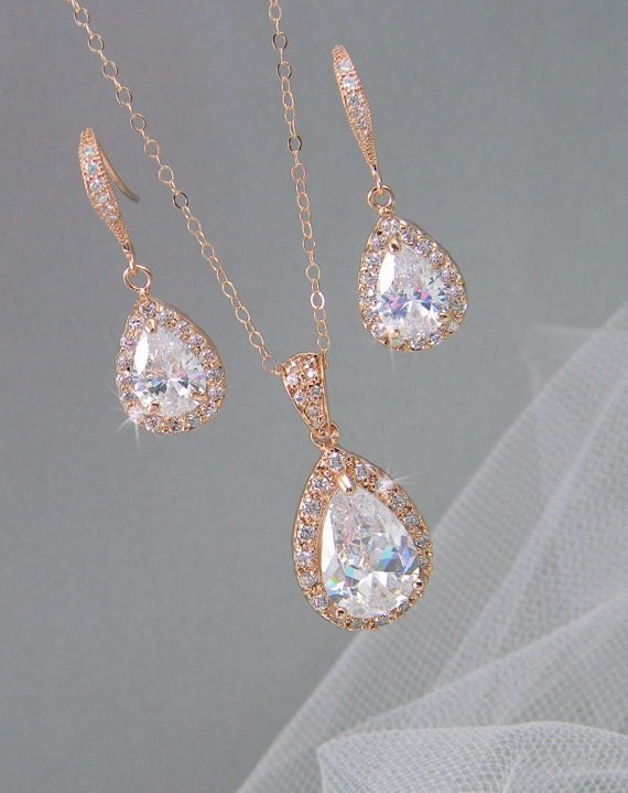 rose gold bridal set bridesmaids jewelry set by crystalavenues