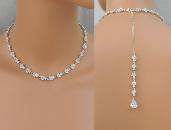 Back Drop Bridal Necklace Crystal Backdrop By CrystalAvenues