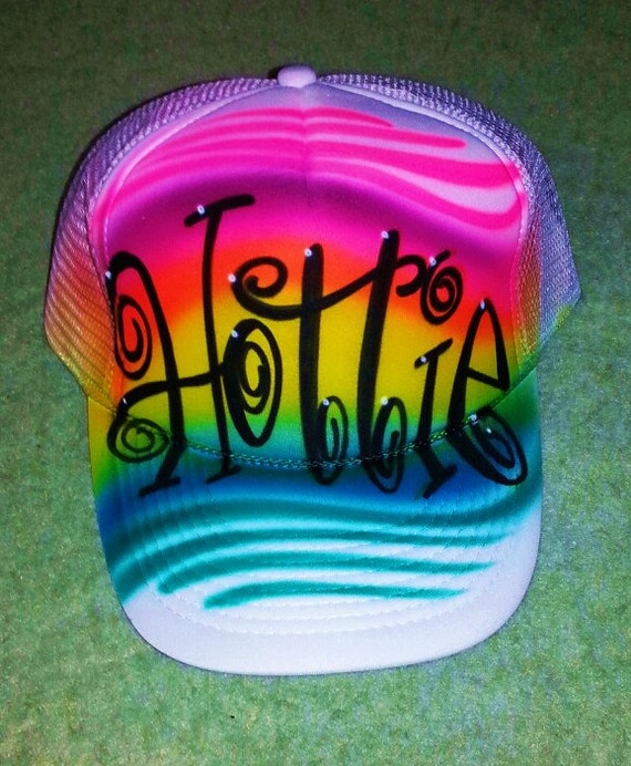 Airbrush Trucker Hat With Name And Favorite Colors, Airbrush Hat, Airbrush Trucker Hat, Trucker Hat, Airbrushed Hat, Custom Hat, Airbrush