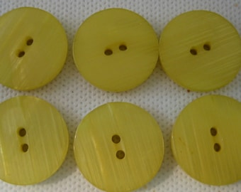 """Yellow buttons, Large Yellow button, Lot of 6    (7/8"""" 23mm)"""