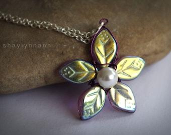 Iridescent Violet Flower Necklace