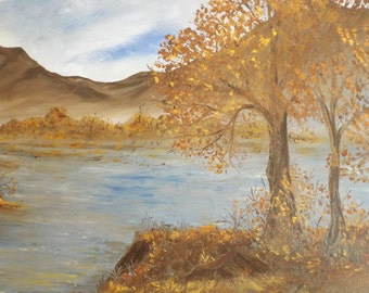 "Sale Oil Painting Landscape or lakescape by Artist S Wolf.  Signed, 1981 . unframed. Size 36""x24"". Autumn. Oil on canvas."