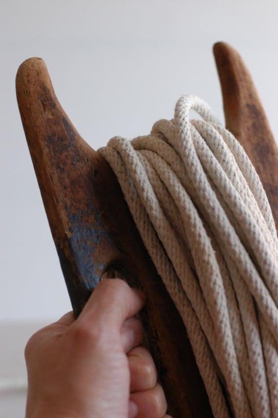 Vintage Handmade Wood Rope Winder, Clothesline String Reel, Wood Rope Reel