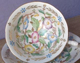 UNIQUE Antique Royal Chelsea hand painted tea cup set, English tea cup and saucer, bone china tea set, antique tea cup, gift for bride