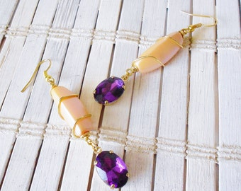 Long Dangle Bead Earrings Peach Pearl & Royal Purple Rhinestones, Wire Wrapped, pierced, Simple Chic