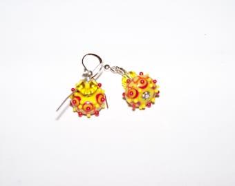 SALE Handmade Lampwork jewelry beaded glass earrings yellow orange green and red bumpy beads