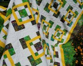 Modern Bright White Sunshine Yellow BATIK handmade quilt or bedspread.  Squares in Squares.  Pillow Covers.