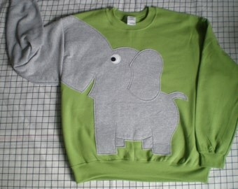 Kiwi green Elephant shirt, Elephant sweatshirt with trunk sleeve,interactive Elephant sweater, cosplay, costume, Adult sizes, halloween