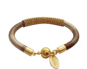 Brown Ombre and Gold Knitted Silk Bracelet