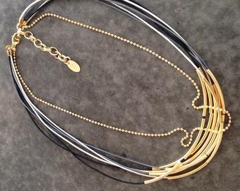 Nava Glazer Necklace/Bracelet leather and gold tubes