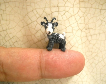1/2 Inch Mini Goat, White Grey  - Micro Miniature Crochet Stuffed Animal - Made To Order